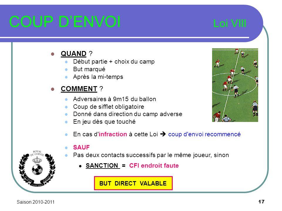 Saison 2010-2011 17 COUP DENVOI Loi VIII QUAND .