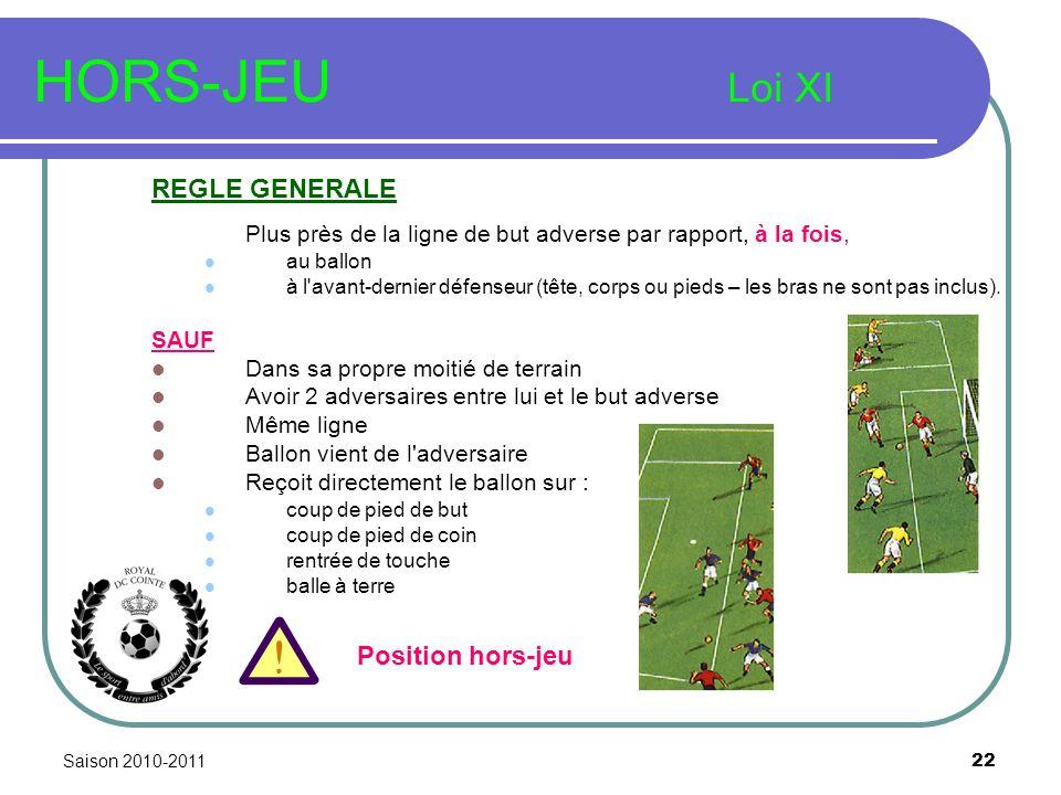 Saison 2010-2011 22 HORS-JEU Loi XI REGLE GENERALE Plus près de la ligne de but adverse par rapport, à la fois, au ballon à l avant-dernier défenseur (tête, corps ou pieds – les bras ne sont pas inclus).