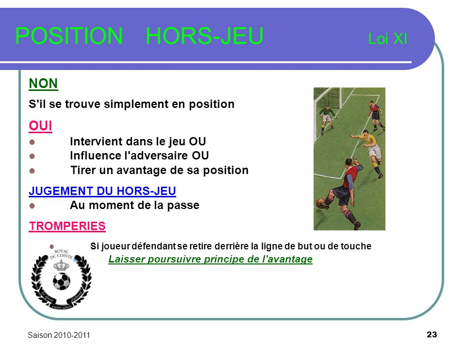 Saison 2010-2011 23 POSITION HORS-JEU Loi XI NON S'il se trouve simplement en position OUI Intervient dans le jeu OU Influence l'adversaire OU Tirer u