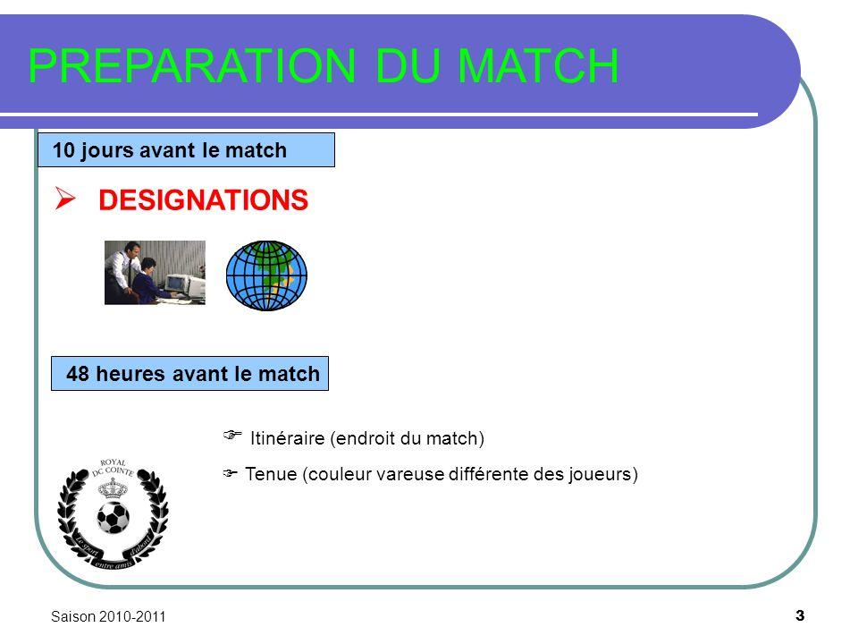 Saison 2010-2011 3 PREPARATION DU MATCH 10 jours avant le match DESIGNATIONS 48 heures avant le match Itinéraire (endroit du match) Tenue (couleur var