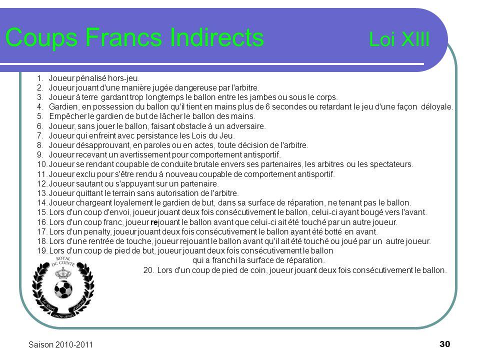 Saison 2010-2011 30 Coups Francs Indirects Loi XIII 1.Joueur pénalisé hors-jeu. 2.Joueur jouant d'une manière jugée dangereuse par l'arbitre. 3.Joueur