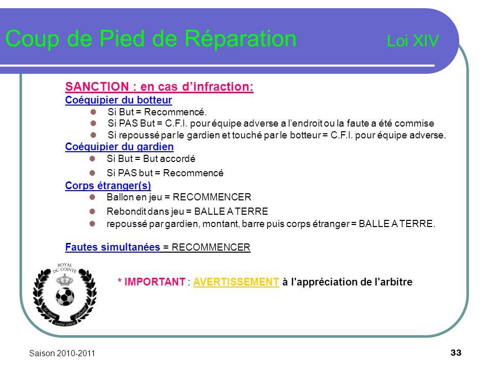 Saison 2010-2011 33 Coup de Pied de Réparation Loi XIV SANCTION : en cas dinfraction: Coéquipier du botteur Si But = Recommencé. Si PAS But = C.F.I. p