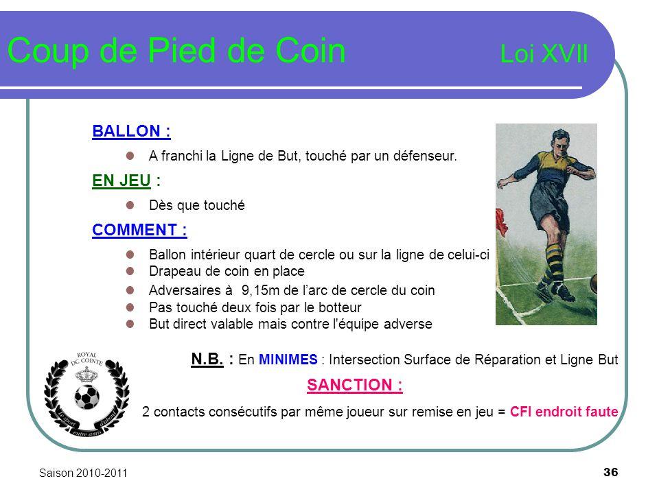 Saison 2010-2011 36 Coup de Pied de Coin Loi XVII BALLON : A franchi la Ligne de But, touché par un défenseur. EN JEU : Dès que touché COMMENT : Ballo