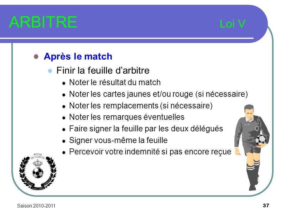 Saison 2010-2011 37 ARBITRE Loi V Après le match Finir la feuille darbitre Noter le résultat du match Noter les cartes jaunes et/ou rouge (si nécessai