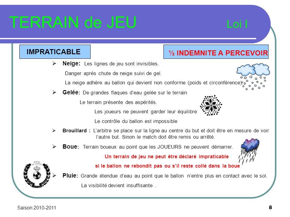 Saison 2010-2011 8 TERRAIN de JEU Loi I IMPRATICABLE Neige: Les lignes de jeu sont invisibles. Danger après chute de neige suivi de gel. La neige adhè