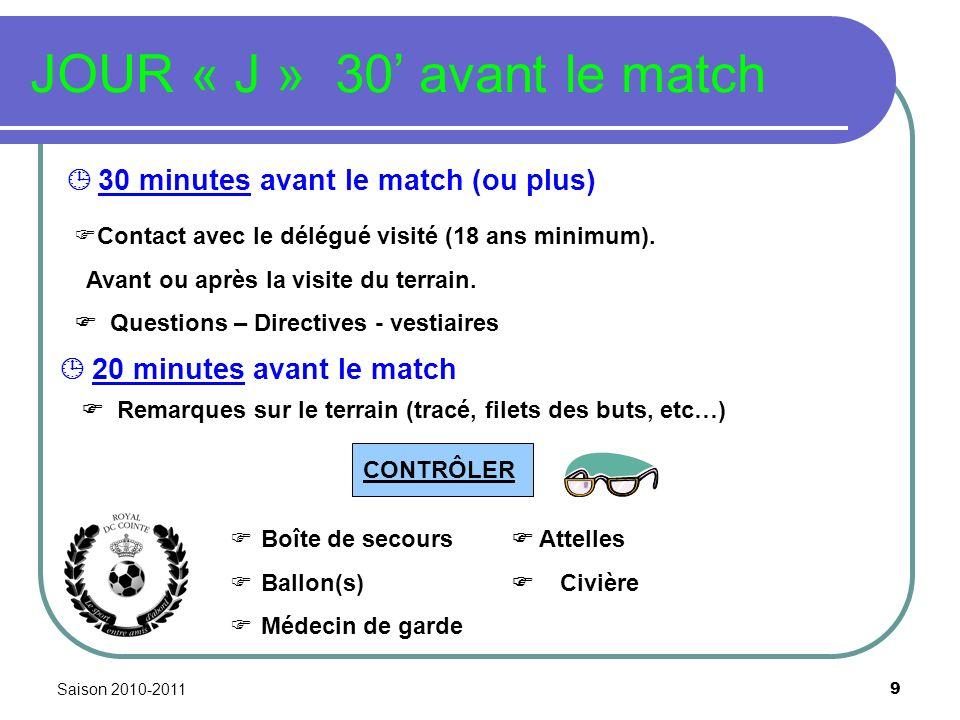 Saison 2010-2011 9 JOUR « J » 30 avant le match 30 minutes avant le match (ou plus) Remarques sur le terrain (tracé, filets des buts, etc…) Boîte de s