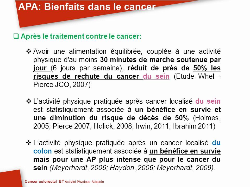 Après le traitement contre le cancer: Avoir une alimentation équilibrée, couplée à une activité physique d'au moins 30 minutes de marche soutenue par