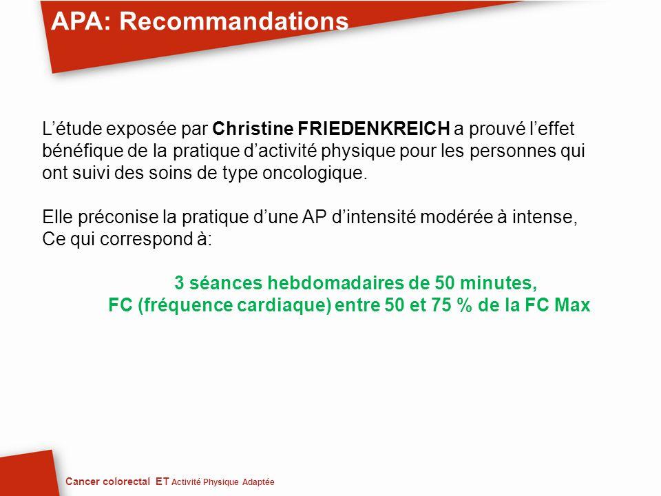 APA: Recommandations Cancer colorectal ET Activité Physique Adaptée Létude exposée par Christine FRIEDENKREICH a prouvé leffet bénéfique de la pratiqu