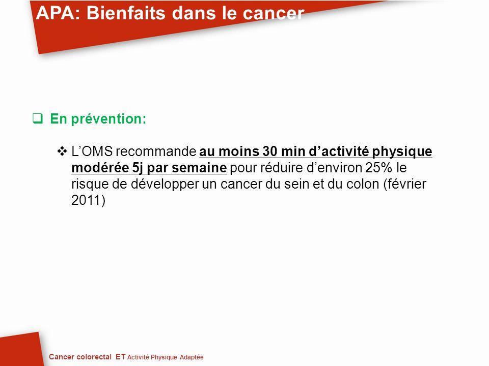 APA: Bienfaits dans le cancer En prévention: LOMS recommande au moins 30 min dactivité physique modérée 5j par semaine pour réduire denviron 25% le ri