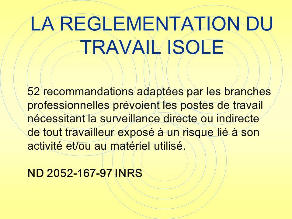 LA REGLEMENTATION DU TRAVAIL ISOLE 52 recommandations adaptées par les branches professionnelles prévoient les postes de travail nécessitant la survei
