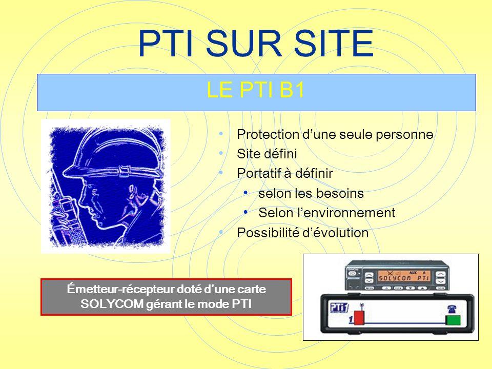 Protection dune seule personne Site défini Portatif à définir selon les besoins Selon lenvironnement Possibilité dévolution PTI SUR SITE LE PTI B1 Éme