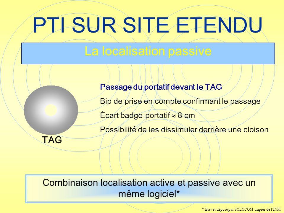 PTI SUR SITE ETENDU La localisation passive Passage du portatif devant le TAG Bip de prise en compte confirmant le passage Écart badge-portatif 8 cm P