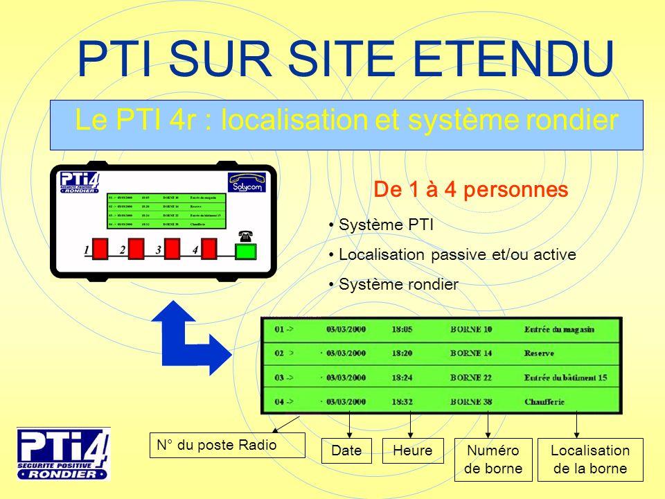 PTI SUR SITE ETENDU Le PTI 4r : localisation et système rondier N° du poste Radio HeureDateNuméro de borne Localisation de la borne Système PTI Locali