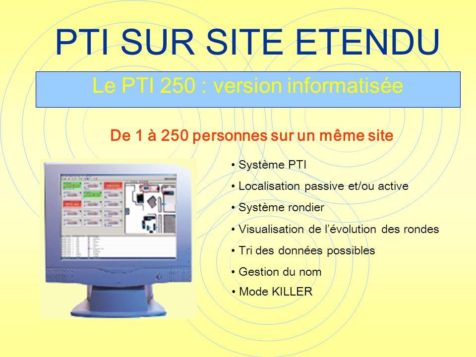PTI SUR SITE ETENDU Le PTI 250 : version informatisée Système PTI Localisation passive et/ou active Système rondier Visualisation de lévolution des ro