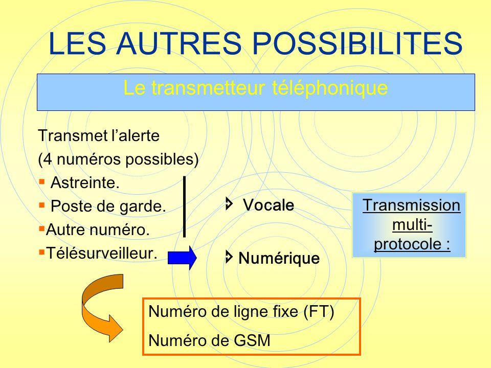 LES AUTRES POSSIBILITES Le transmetteur téléphonique Numéro de ligne fixe (FT) Numéro de GSM Transmet lalerte (4 numéros possibles) Astreinte. Poste d