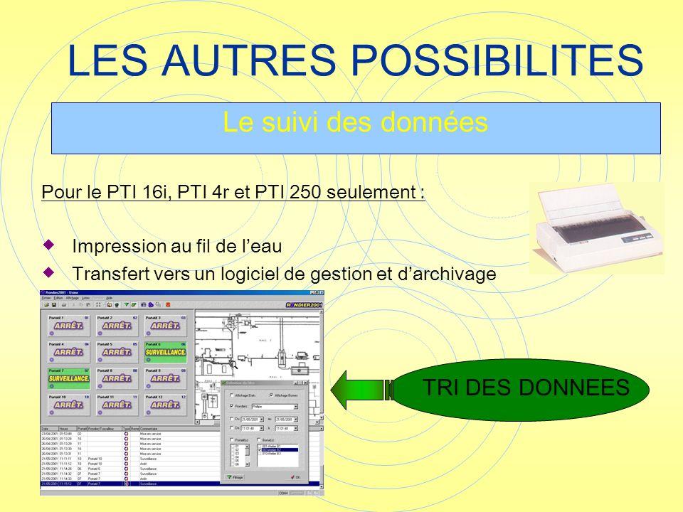 Pour le PTI 16i, PTI 4r et PTI 250 seulement : Impression au fil de leau Transfert vers un logiciel de gestion et darchivage LES AUTRES POSSIBILITES L