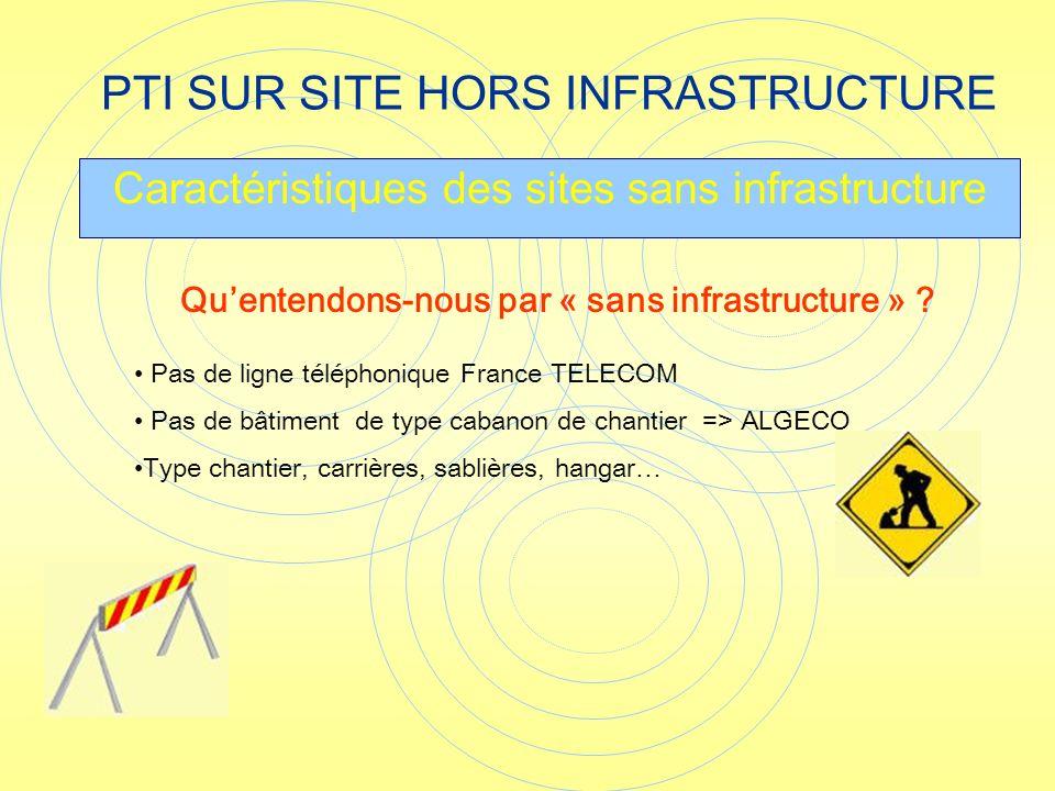 PTI SUR SITE HORS INFRASTRUCTURE Caractéristiques des sites sans infrastructure Pas de ligne téléphonique France TELECOM Pas de bâtiment de type caban