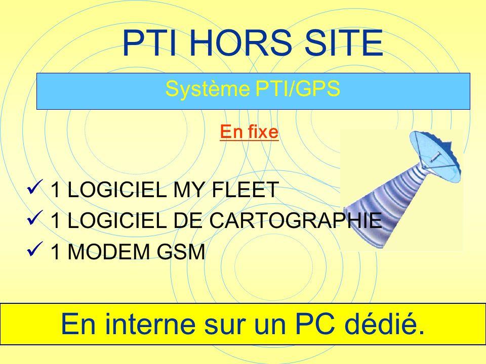 PTI HORS SITE Système PTI/GPS En fixe En interne sur un PC dédié. 1 LOGICIEL MY FLEET 1 LOGICIEL DE CARTOGRAPHIE 1 MODEM GSM