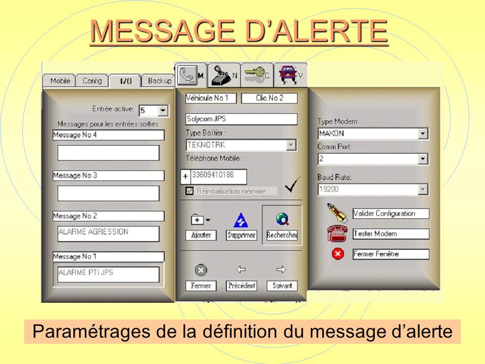 MESSAGE DALERTE Paramétrages de la définition du message dalerte