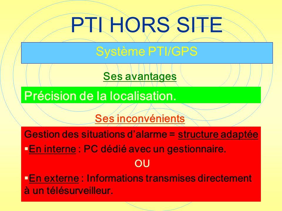 PTI HORS SITE Système PTI/GPS Précision de la localisation. Ses avantages Gestion des situations dalarme = structure adaptée En interne : PC dédié ave