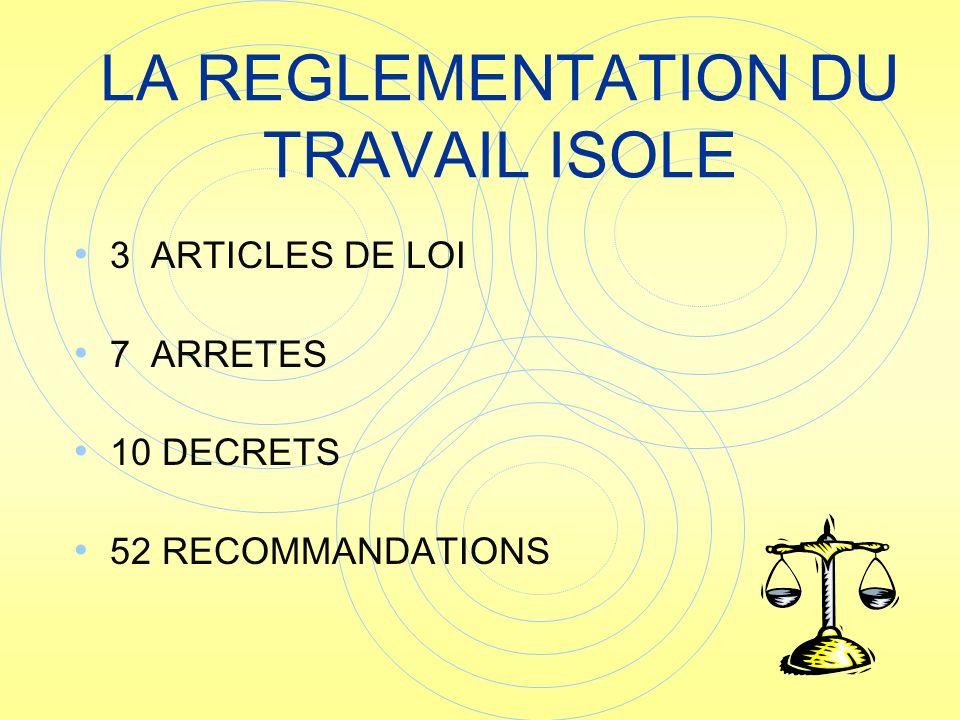 3 ARTICLES DE LOI 7 ARRETES 10 DECRETS 52 RECOMMANDATIONS LA REGLEMENTATION DU TRAVAIL ISOLE