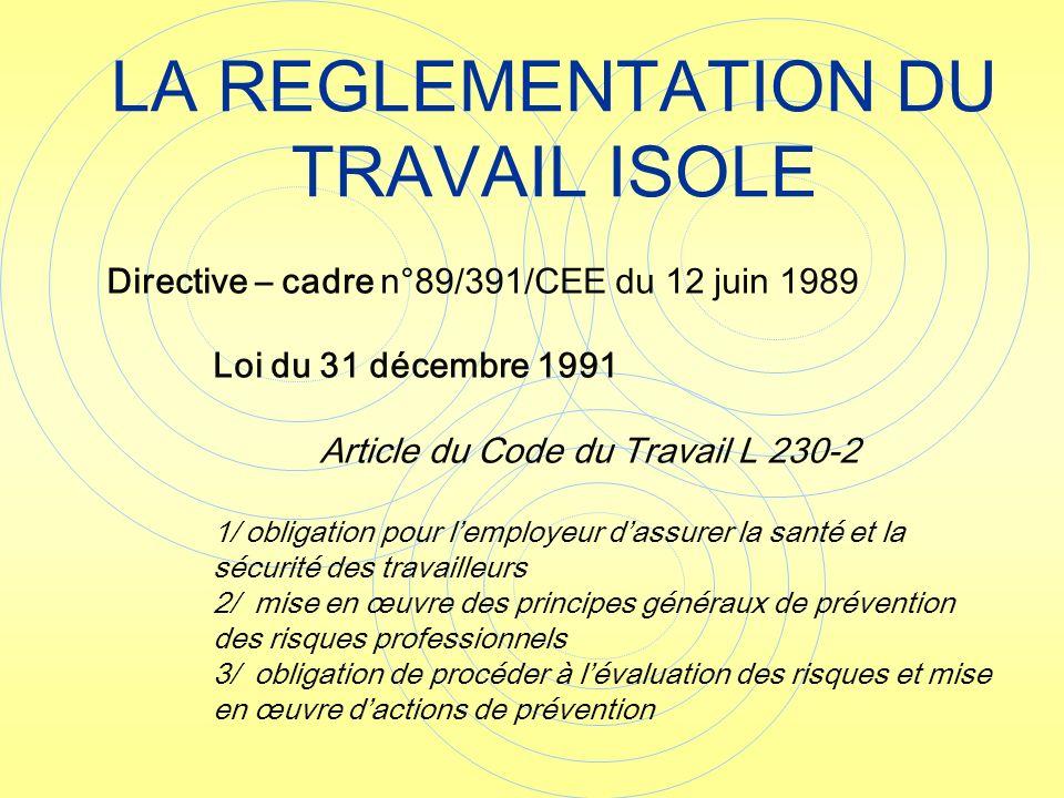 Directive – cadre n°89/391/CEE du 12 juin 1989 Loi du 31 décembre 1991 Article du Code du Travail L 230-2 1/ obligation pour lemployeur dassurer la sa