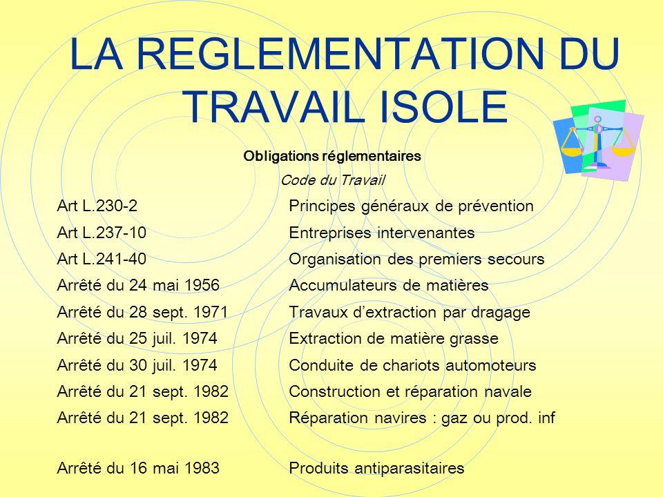 LA REGLEMENTATION DU TRAVAIL ISOLE Obligations réglementaires Code du Travail Art L.230-2Principes généraux de prévention Art L.237-10Entreprises inte