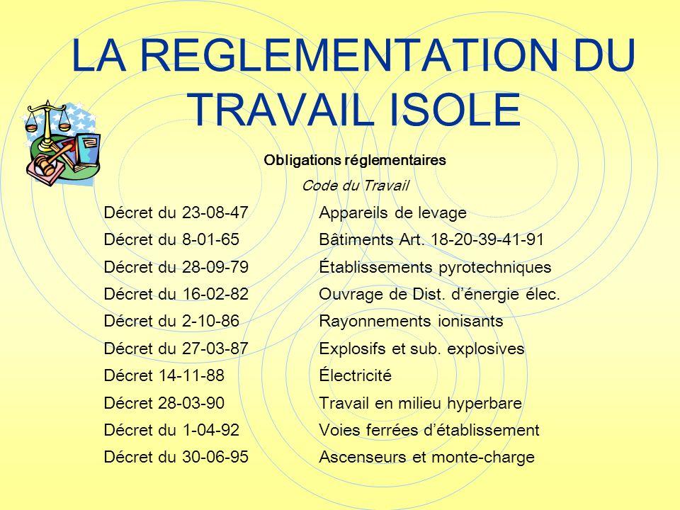 LA REGLEMENTATION DU TRAVAIL ISOLE Obligations réglementaires Code du Travail Décret du 23-08-47Appareils de levage Décret du 8-01-65Bâtiments Art. 18