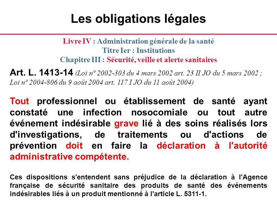 Les obligations légales Art. L. 1413-14 (Loi nº 2002-303 du 4 mars 2002 art. 23 II JO du 5 mars 2002 ; Loi nº 2004-806 du 9 août 2004 art. 117 I JO du