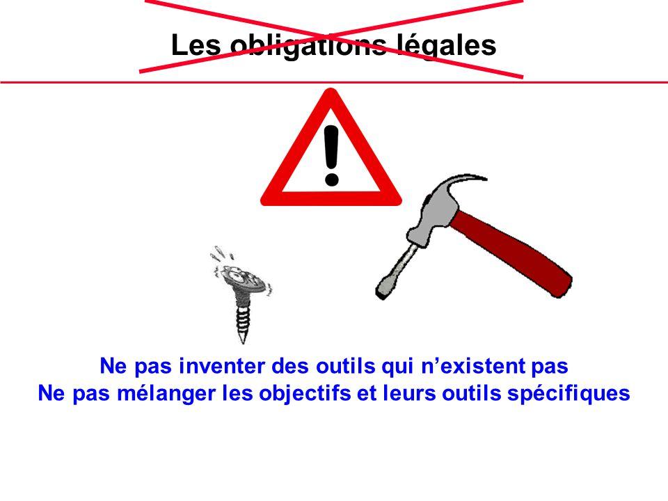 Les obligations légales Ne pas inventer des outils qui nexistent pas Ne pas mélanger les objectifs et leurs outils spécifiques