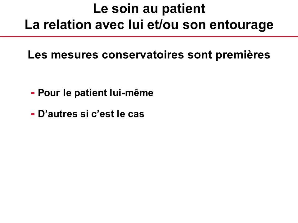 Le soin au patient La relation avec lui et/ou son entourage Les mesures conservatoires sont premières - Pour le patient lui-même - Dautres si cest le