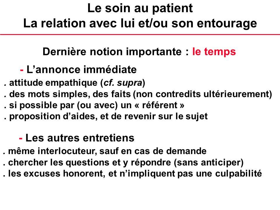 Le soin au patient La relation avec lui et/ou son entourage - Lannonce immédiate. attitude empathique (cf. supra). des mots simples, des faits (non co