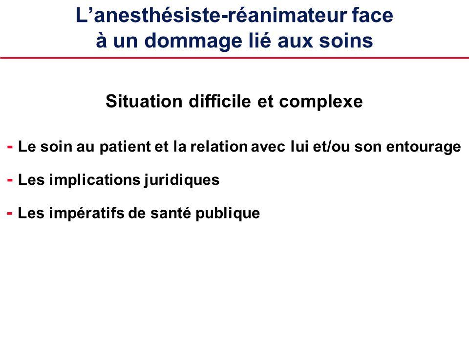 Lanesthésiste-réanimateur face à un dommage lié aux soins - Le soin au patient et la relation avec lui et/ou son entourage Situation difficile et comp