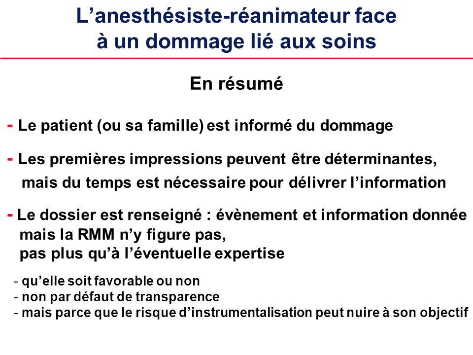 Lanesthésiste-réanimateur face à un dommage lié aux soins - Le patient (ou sa famille) est informé du dommage En résumé - Les premières impressions pe