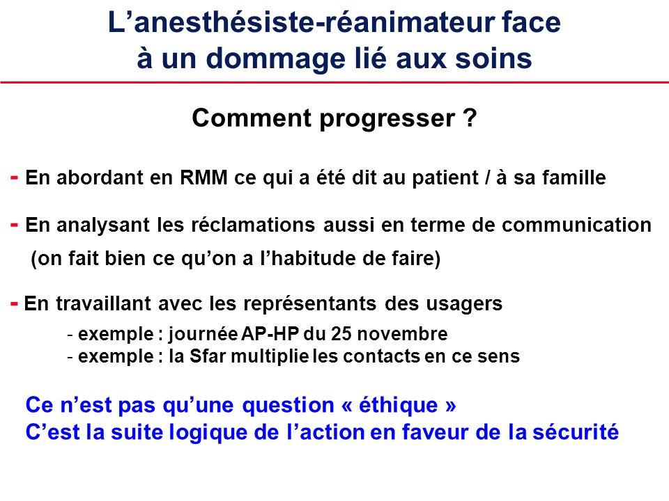 Lanesthésiste-réanimateur face à un dommage lié aux soins - En abordant en RMM ce qui a été dit au patient / à sa famille Comment progresser ? - En an