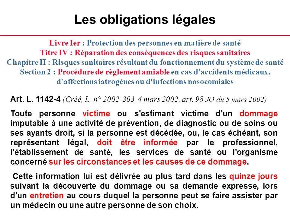 Les obligations légales Art. L. 1142-4 (Créé, L. n° 2002-303, 4 mars 2002, art. 98 JO du 5 mars 2002 ) Toute personne victime ou s'estimant victime d'