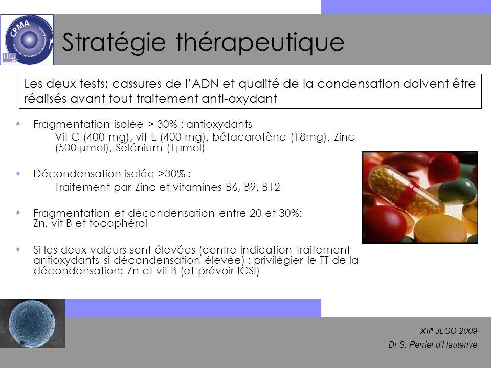 XII e JLGO 2009 Dr S. Perrier dHauterive Stratégie thérapeutique Fragmentation isolée > 30% : antioxydants Vit C (400 mg), vit E (400 mg), bétacarotèn