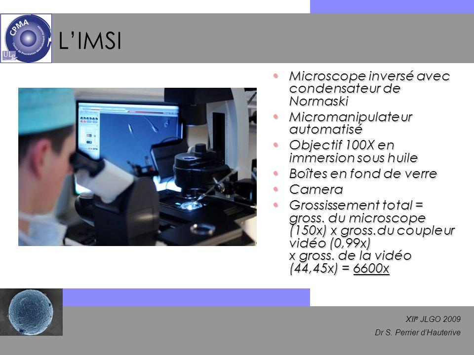 XII e JLGO 2009 Dr S. Perrier dHauterive LIMSI Microscope inversé avec condensateur de NormaskiMicroscope inversé avec condensateur de Normaski Microm