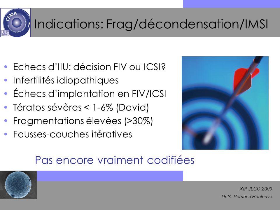 XII e JLGO 2009 Dr S. Perrier dHauterive Indications: Frag/décondensation/IMSI Echecs dIIU: décision FIV ou ICSI? Infertilités idiopathiques Échecs di