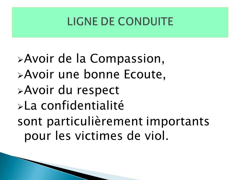 Avoir de la Compassion, Avoir une bonne Ecoute, Avoir du respect La confidentialité sont particulièrement importants pour les victimes de viol.