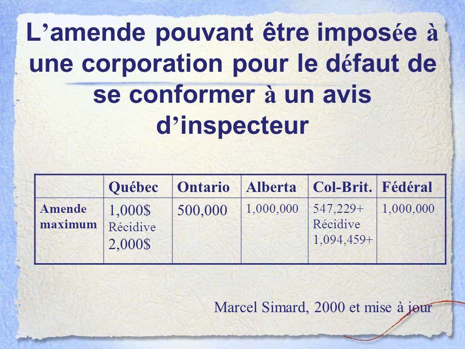 L amende pouvant être impos é e à une corporation pour le d é faut de se conformer à un avis d inspecteur QuébecOntarioAlbertaCol-Brit.Fédéral Amende