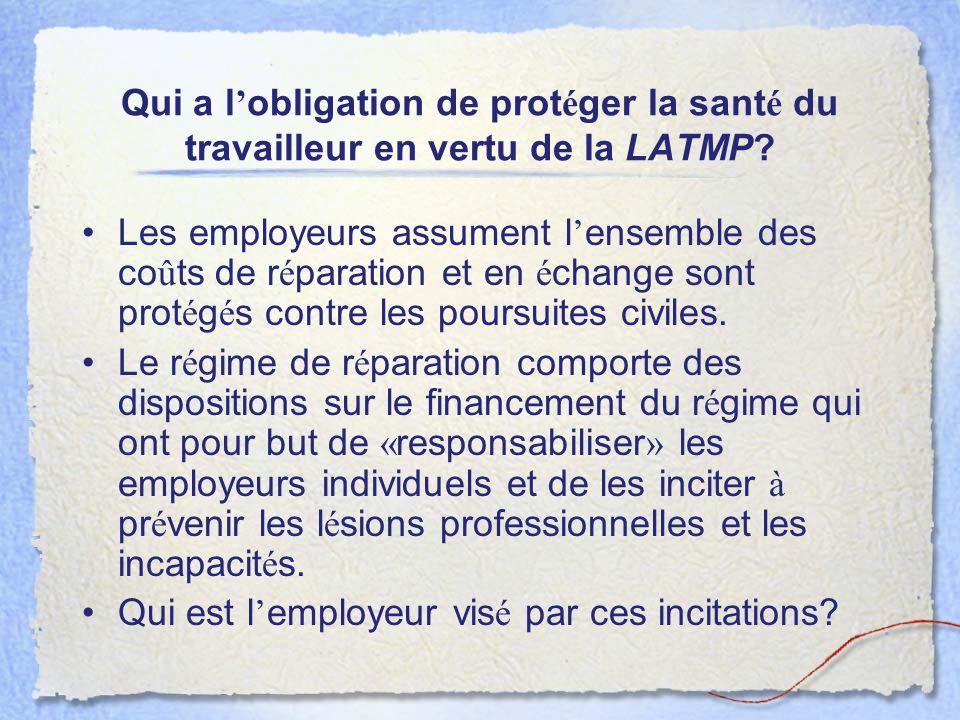 Qui a l obligation de prot é ger la sant é du travailleur en vertu de la LATMP? Les employeurs assument l ensemble des co û ts de r é paration et en é