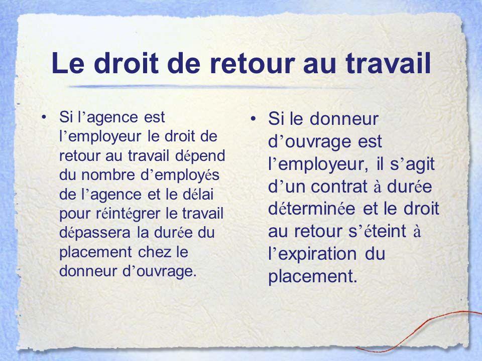 Le droit de retour au travail Si l agence est l employeur le droit de retour au travail d é pend du nombre d employ é s de l agence et le d é lai pour