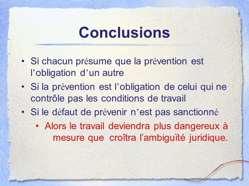 Conclusions Si chacun pr é sume que la pr é vention est l obligation d un autre Si la pr é vention est l obligation de celui qui ne contrôle pas les c
