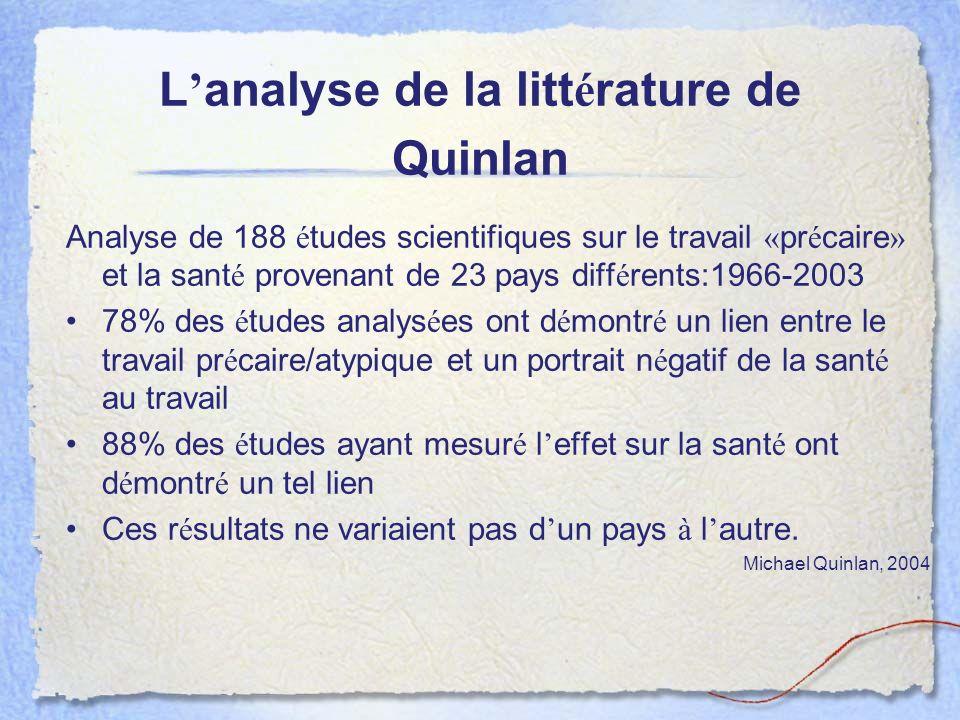 L analyse de la litt é rature de Quinlan Analyse de 188 é tudes scientifiques sur le travail « pr é caire » et la sant é provenant de 23 pays diff é r