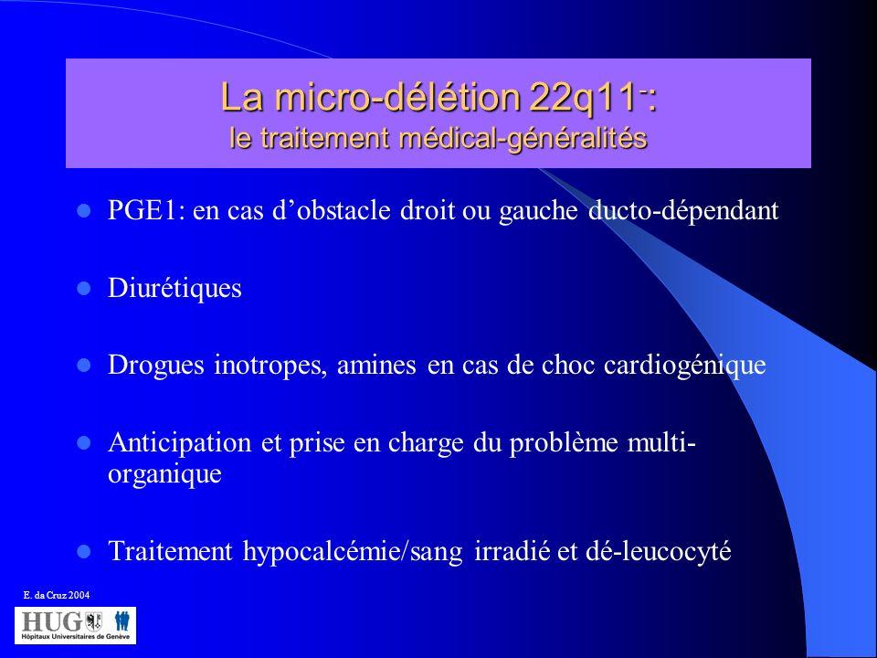 La micro-délétion 22q11 - : le traitement médical-généralités PGE1: en cas dobstacle droit ou gauche ducto-dépendant Diurétiques Drogues inotropes, am