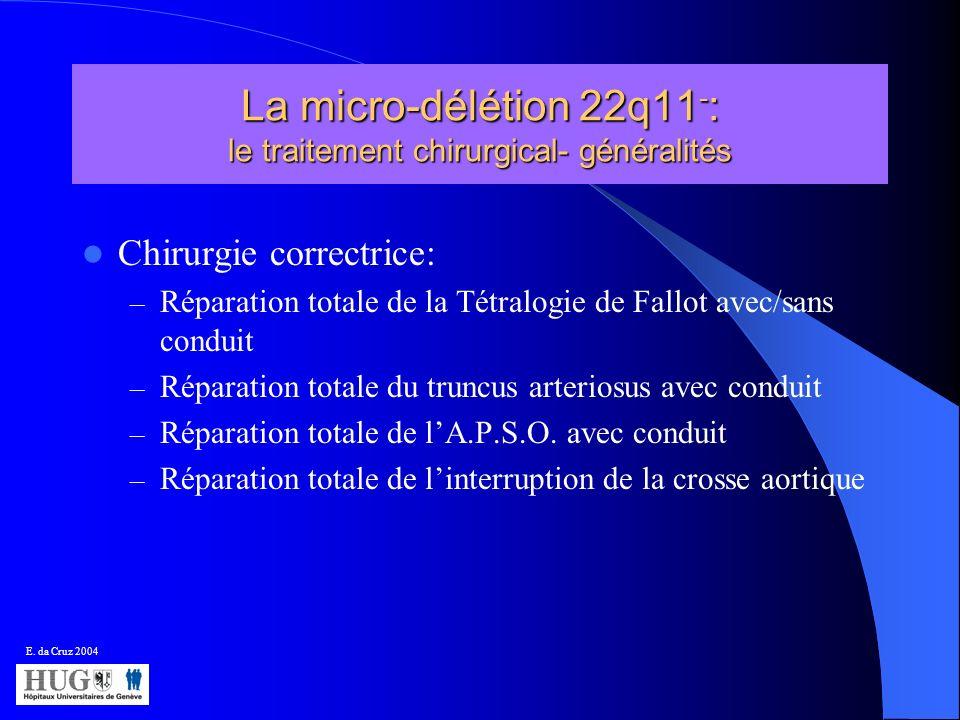 La micro-délétion 22q11 - : le traitement chirurgical- généralités Chirurgie correctrice: – Réparation totale de la Tétralogie de Fallot avec/sans con