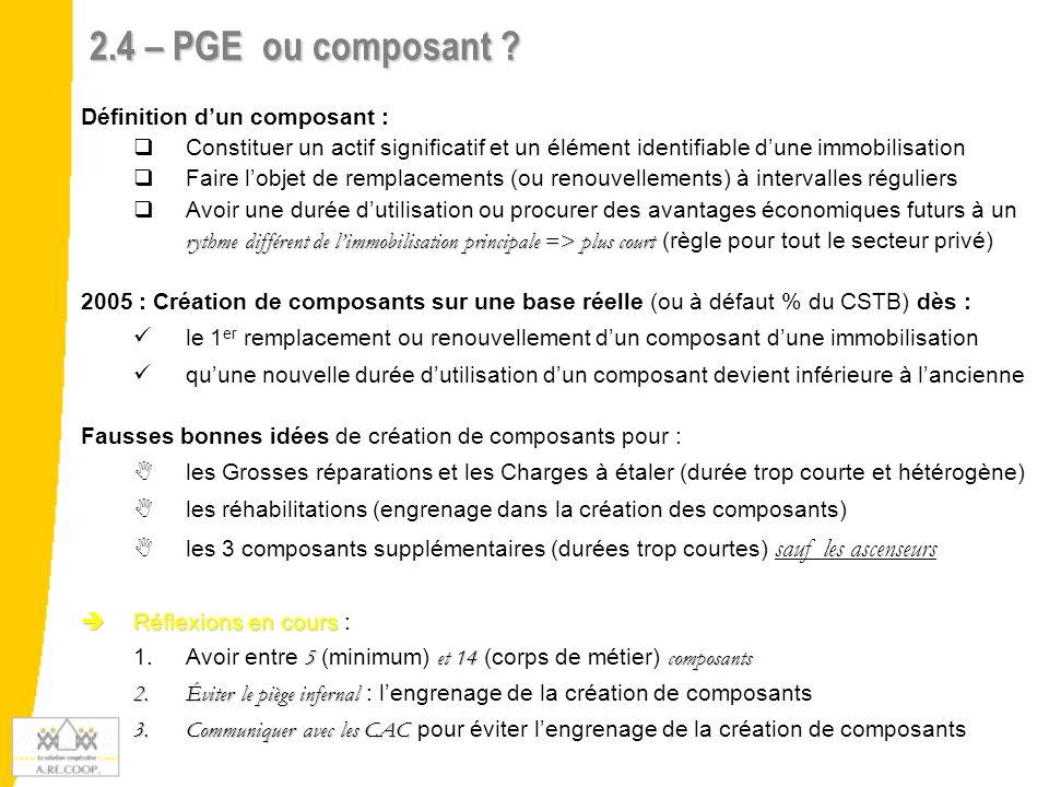 2.4 – PGE ou composant ? Définition dun composant : Constituer un actif significatif et un élément identifiable dune immobilisation Faire lobjet de re