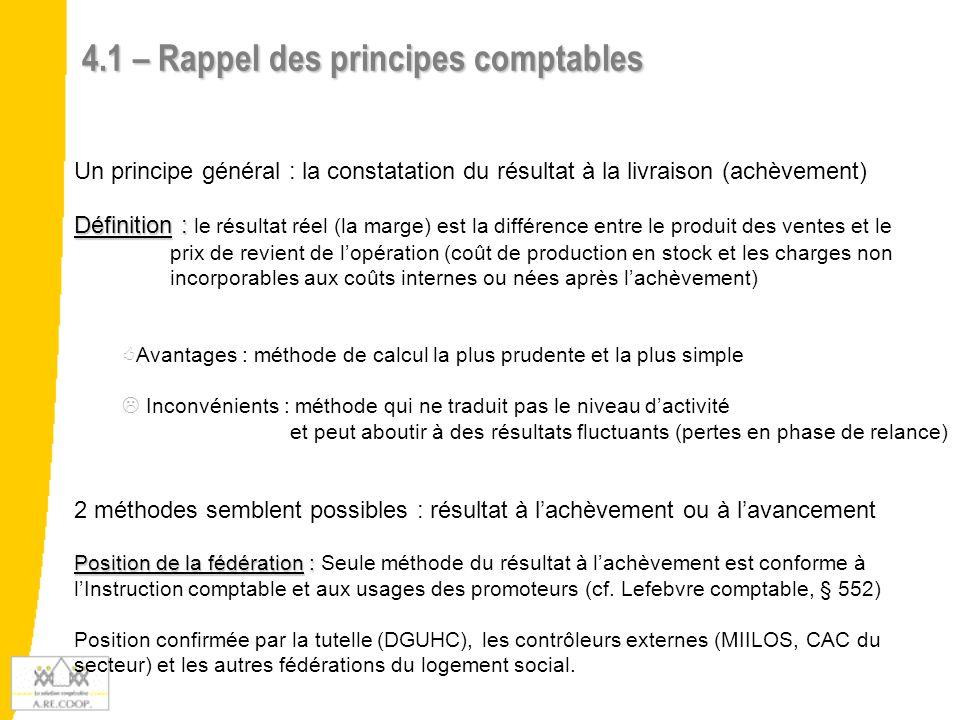 4.1 – Rappel des principes comptables Un principe général : la constatation du résultat à la livraison (achèvement) Définition : Définition : le résul