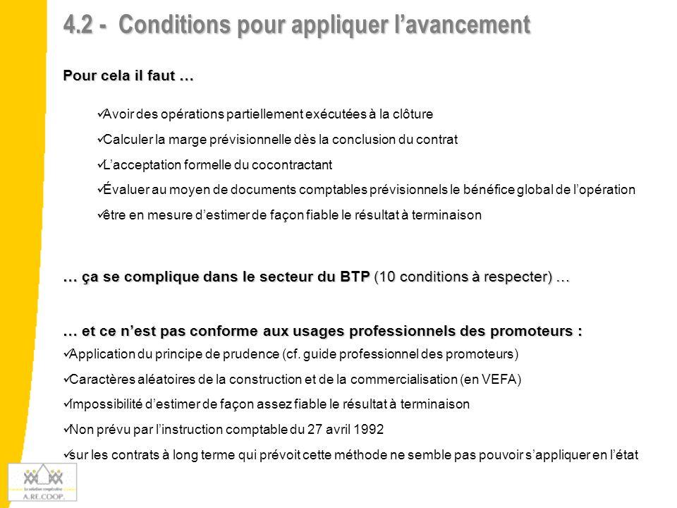 4.2 - Conditions pour appliquer lavancement Pour cela il faut … Avoir des opérations partiellement exécutées à la clôture Calculer la marge prévisionn